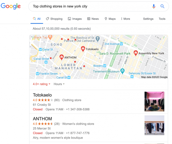 Local Listing of New York Clothing Store