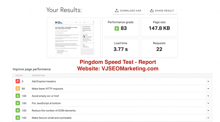 Speed Audit with Pingdom tool