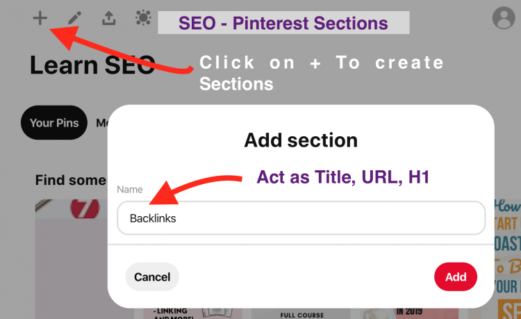 SEO for Pinterest Sections