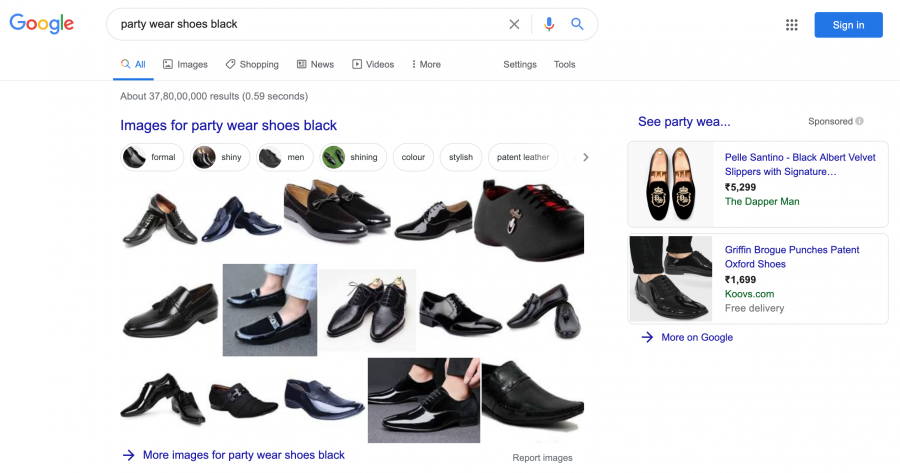 Google Search Party wear shoes - No video appear